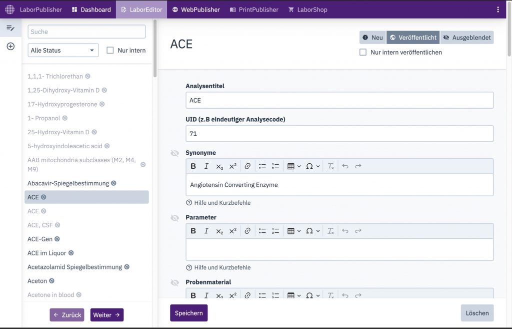 LaborPublisher, Laboreditor, Screenshot