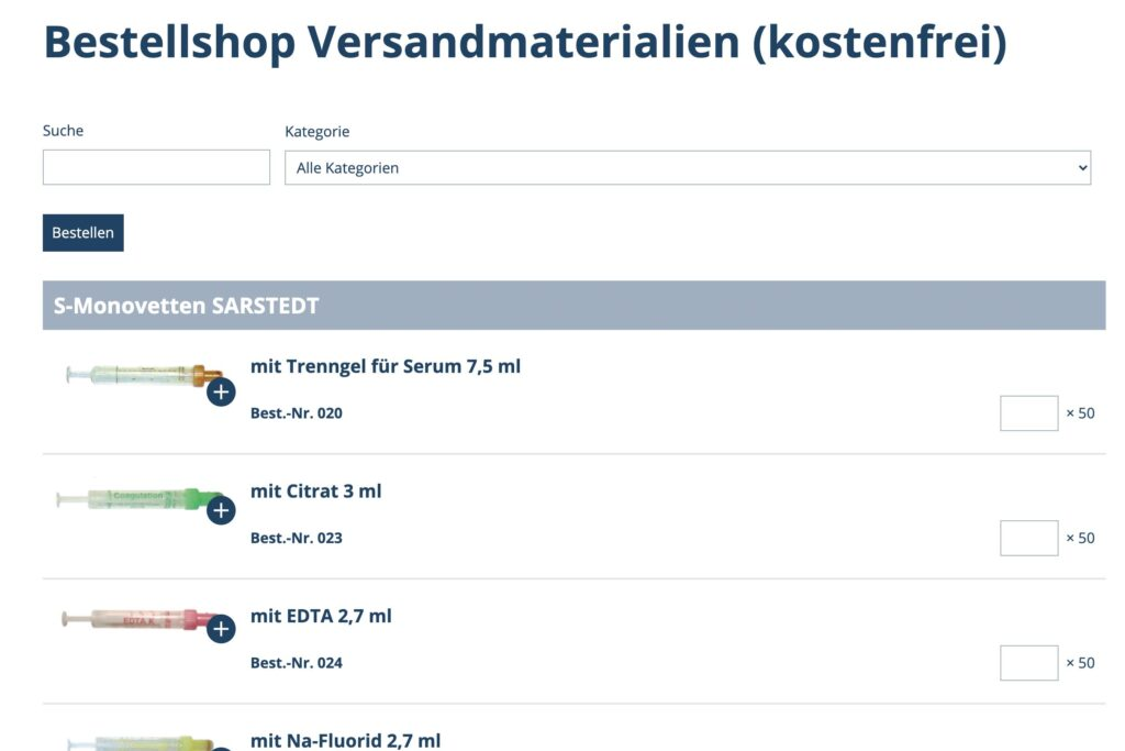 Laborshop/Materialbestellung, Screenshot